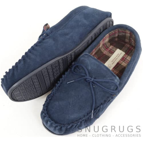 Suede Moccasins with Cotton Lining - Navy