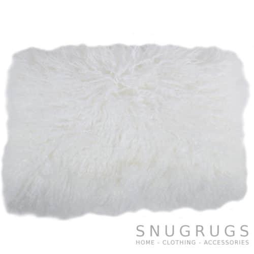 Snugrugs Mongolian Sheepskin Cushion 30cm x 50cm - White
