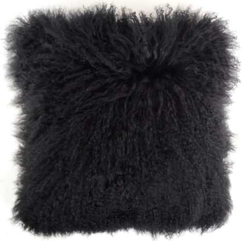 Snugrugs Mongolian Sheepskin Cushion 40cm x 40cm – Black