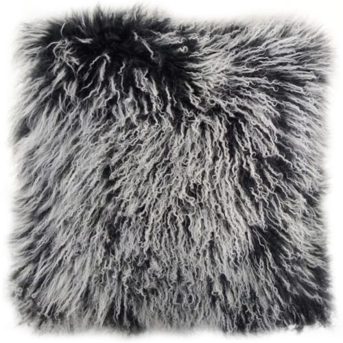 Snugrugs Mongolian Sheepskin Cushion 40cm x 40cm – Black/White