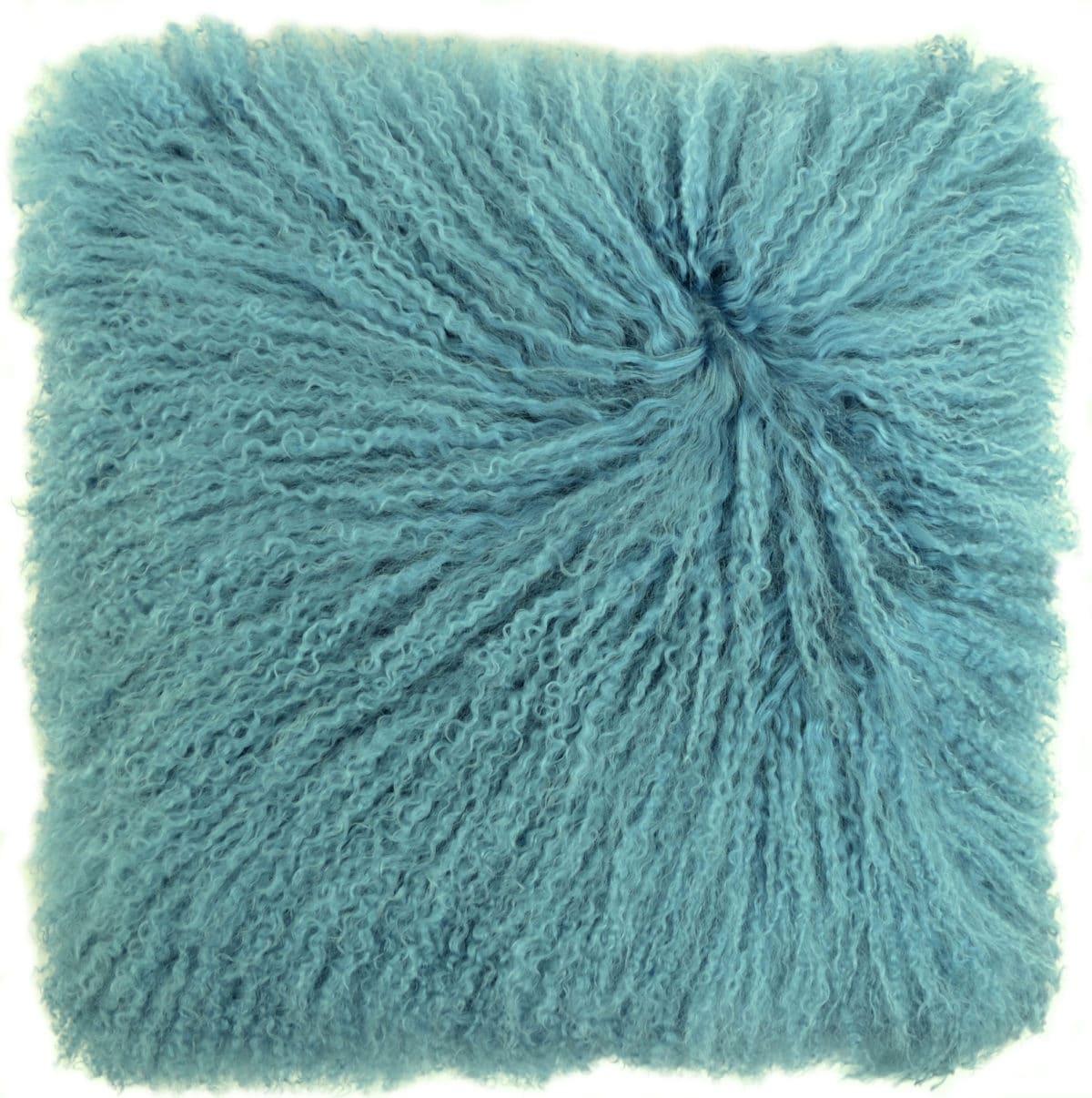 Snugrugs Mongolian Sheepskin Cushion 40cm x 40cm – Aqua Blue