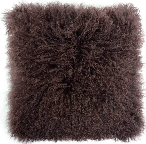 Snugrugs Mongolian Sheepskin Cushion 40cm x 40cm – Chocolate Brown
