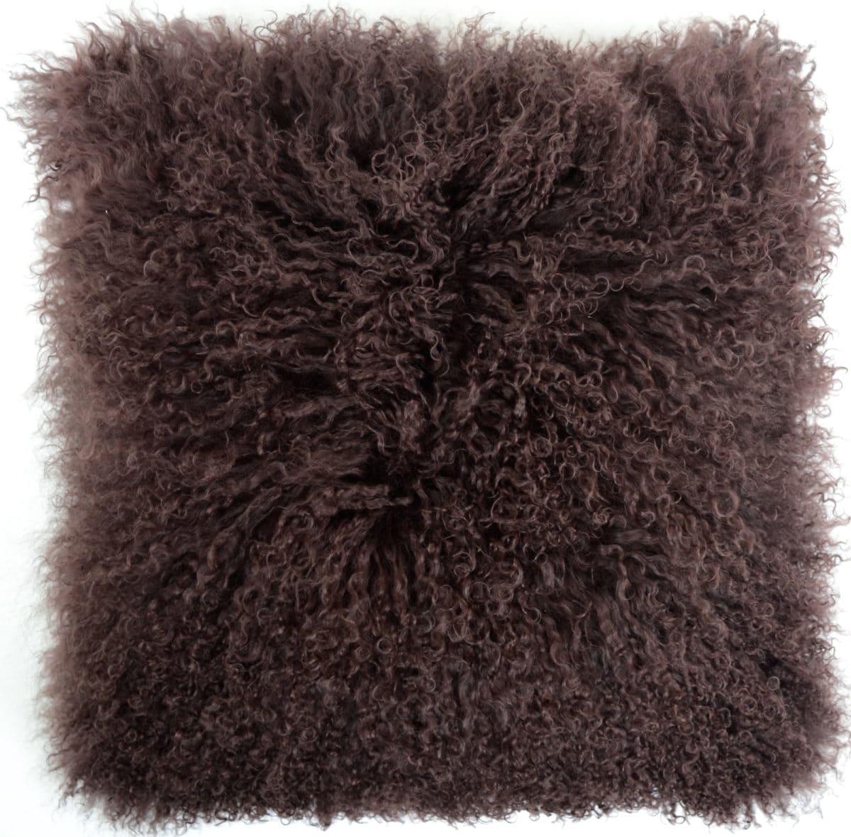 Mongolian Sheepskin Cushion Chocolate Brown Snugrugs