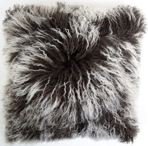 Snugrugs Mongolian Sheepskin Cushion 40cm x 40cm – Brown/White
