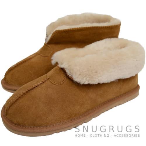 Sophia - Sheepskin Slipper Boot - Chestnut