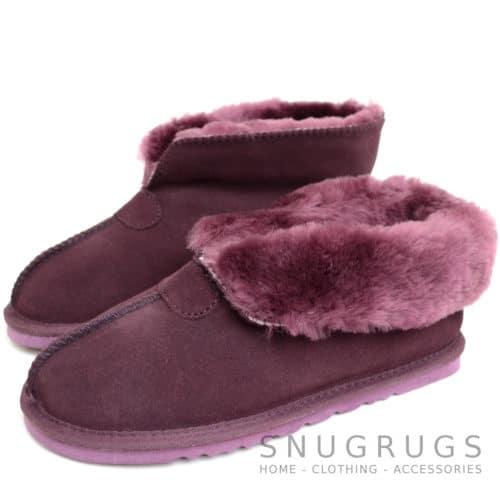 Sophia - Sheepskin Slipper Boot - Plum