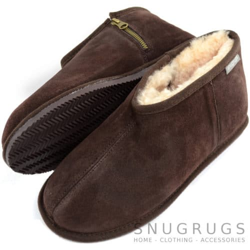 Benji - Sheepskin Zipper Slipper - Chocolate Brown