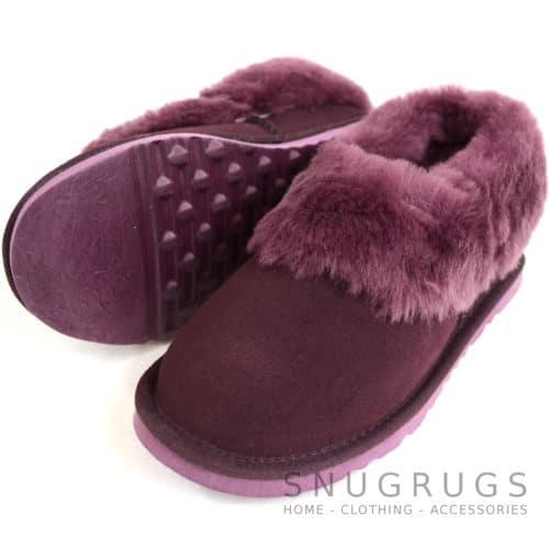 Lottie - Luxury Sheepskin Slipper Boot - Plum