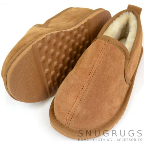 Joshua - Sheepskin Slippers with EVA Sole - Chestnut