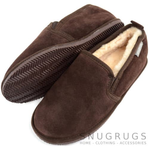 Henley - Sheepskin Slipper with Rubber Sole - Chocolate