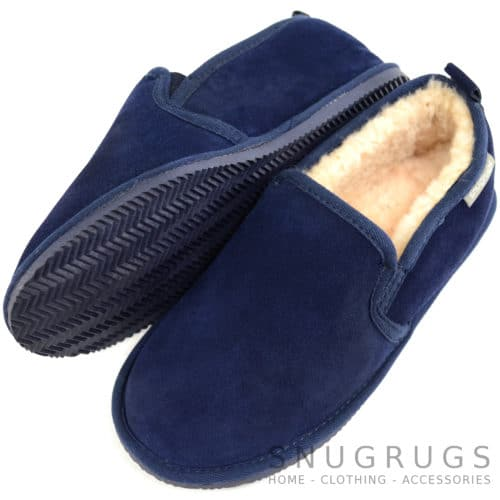 Henley - Sheepskin Slipper with Rubber Sole - Navy