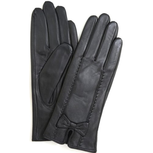 Beti - Leather Gloves with Delicate Bow Feature - Black