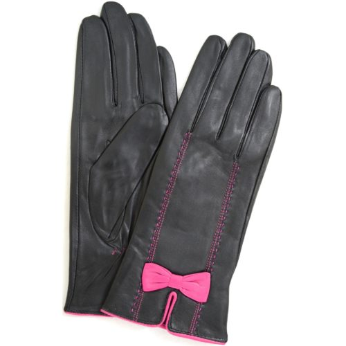 Beti - Leather Gloves with Delicate Bow Feature - Pink