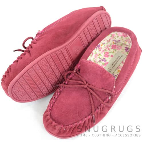 Wool Suede Fabric Lined Moccasins - Crimson