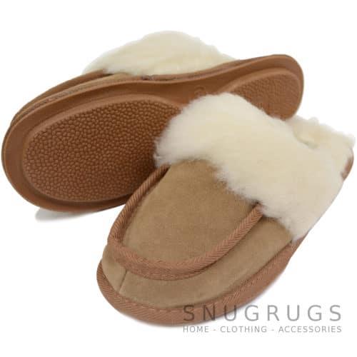 Pat - Wool Suede Mule Slippers - Camel