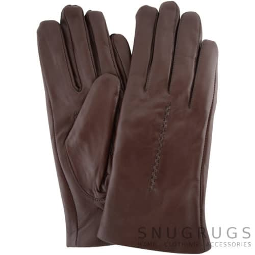 Catrin - Leather Gloves Twisted Central Stitch - Brown