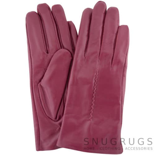 Catrin - Leather Gloves Twisted Central Stitch - Pink