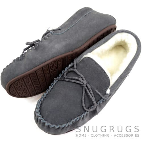 Wool Lined Suede Moccasin with Rubber Sole - Grey