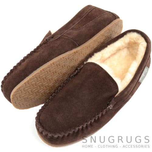 Samuel - Loafer Sheepskin Slippers - Chocolate