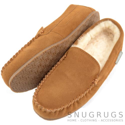 Samuel - Loafer Sheepskin Slippers - Chestnut