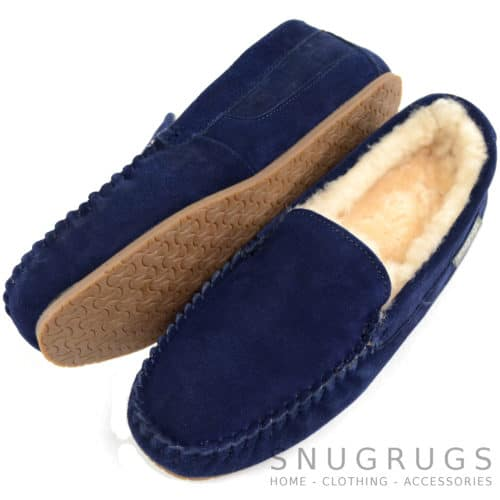 Samuel - Loafer Sheepskin Slippers - Navy