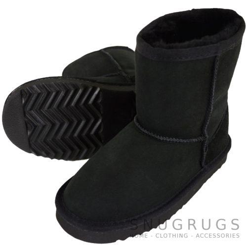 Pixie - Kids Sheepskin Boot - Black