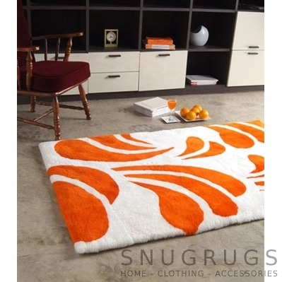 Bowron Shearling Rug Bowron Baroque Peach Shearling Rug - Orange & White