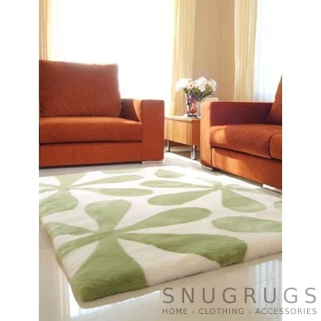 Bowron Penny Lane Shearling Rug - Lime & White