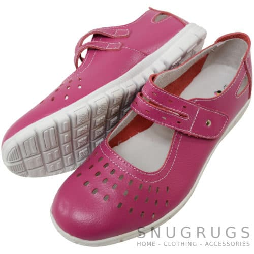Leather EEE Wide Fitting Casual Shoes / Sandals - Raspberry