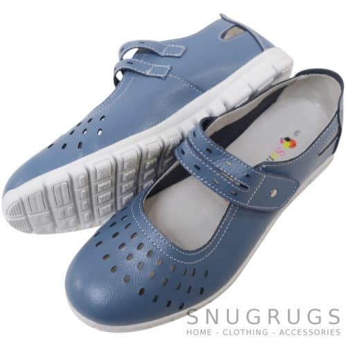 Leather EEE Wide Fitting Casual Shoes / Sandals - Blueberry