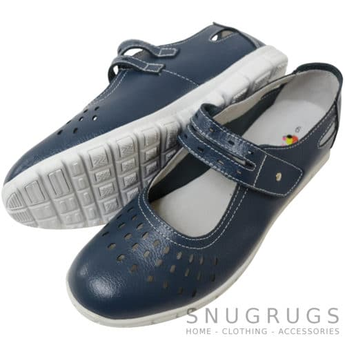 Leather EEE Wide Fitting Casual Shoes / Sandals - Damson