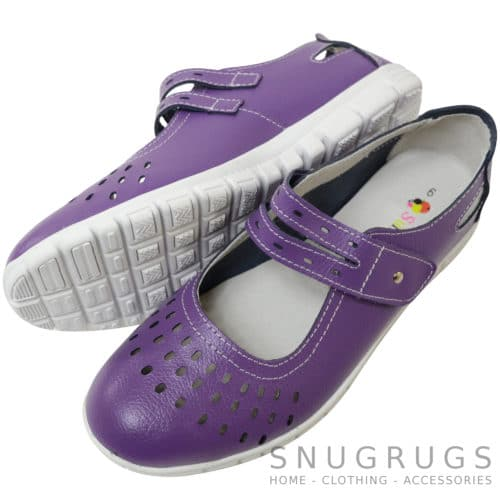 Leather EEE Wide Fitting Casual Shoes / Sandals - Plum