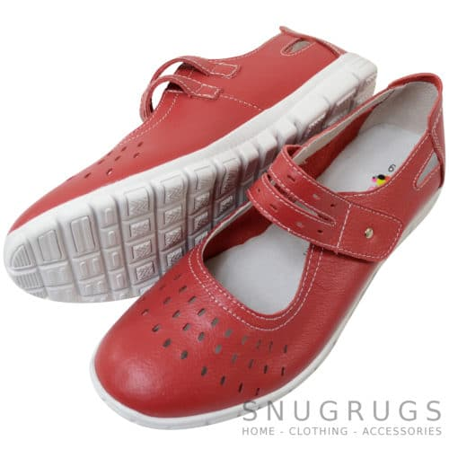 Leather EEE Wide Fitting Casual Shoes / Sandals - Strawberry