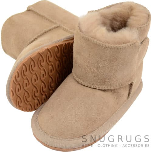 Baby Full Sheepskin Boots / Booties - Camel