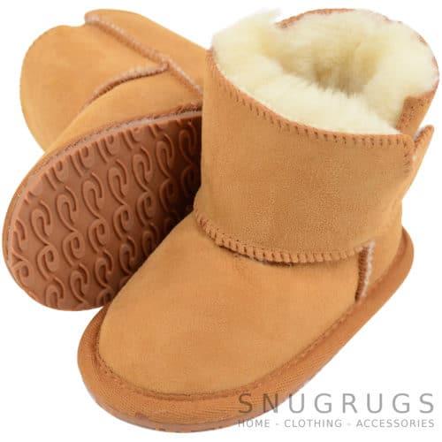 Baby Full Sheepskin Boots / Booties - Tan
