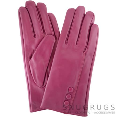 Rhian - Leather Gloves Triple Button Feature - Pink