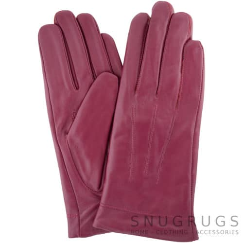Mavis - Leather Gloves Three Point Stitch - Pink