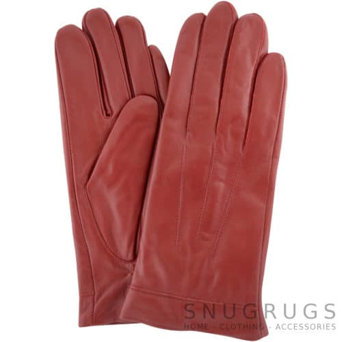 Mavis - Leather Gloves Three Point Stitch - Red