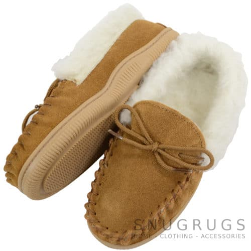 Kids Wool Lined Moccasins - Biscuit