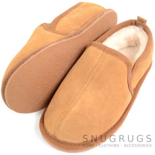 Kids Sheepskin Slipper Boots - Chestnut