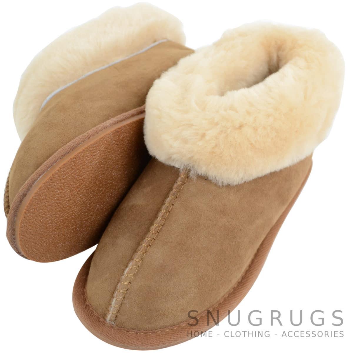 Kids Sheepskin Slippers with Wool Cuff - Chestnut - Snugrugs