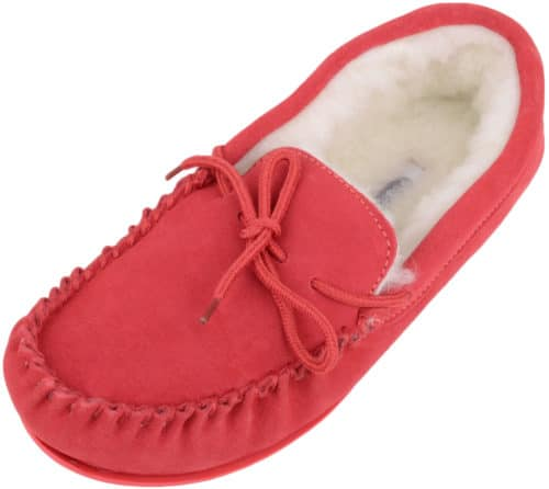 Snugrugs Wool Lined Moccasin with Rubber Sole - Crimson