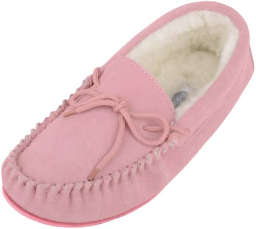 Snugrugs Wool Lined Suede Moccasin with Rubber Sole - Pink