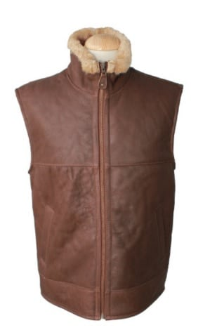 Harvey - Classic Cognac Gilet with Full Sheepskin Lining