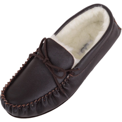 Henry - Wool Lined Leather Moccasins - Dark Brown