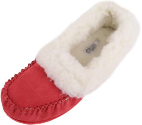 Snugrugs Layla - Luxury Wool Lined Slipper - Crimson