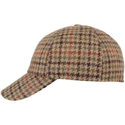 Tweed Baseball Cap - Brown Check - Flap up