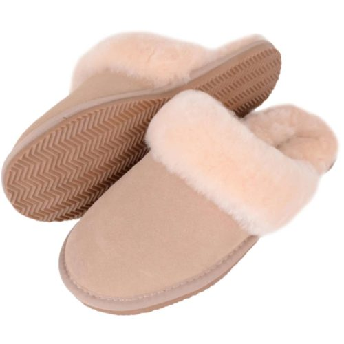 SNUGRUGS Sheepskin Mule Slipper with Cuff - Beige