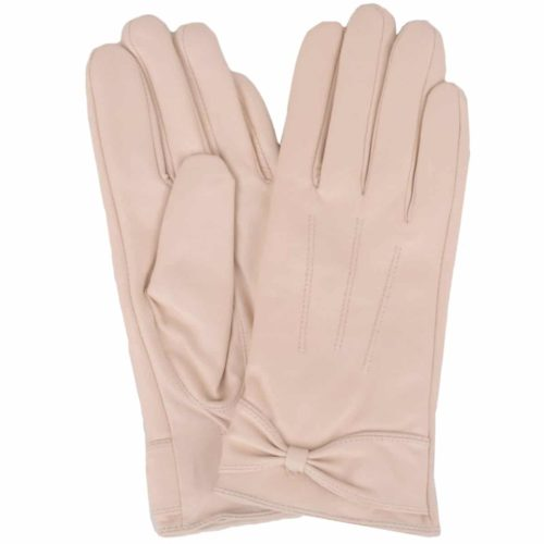 Alwen - Leather Gloves with Bow Design - Beige