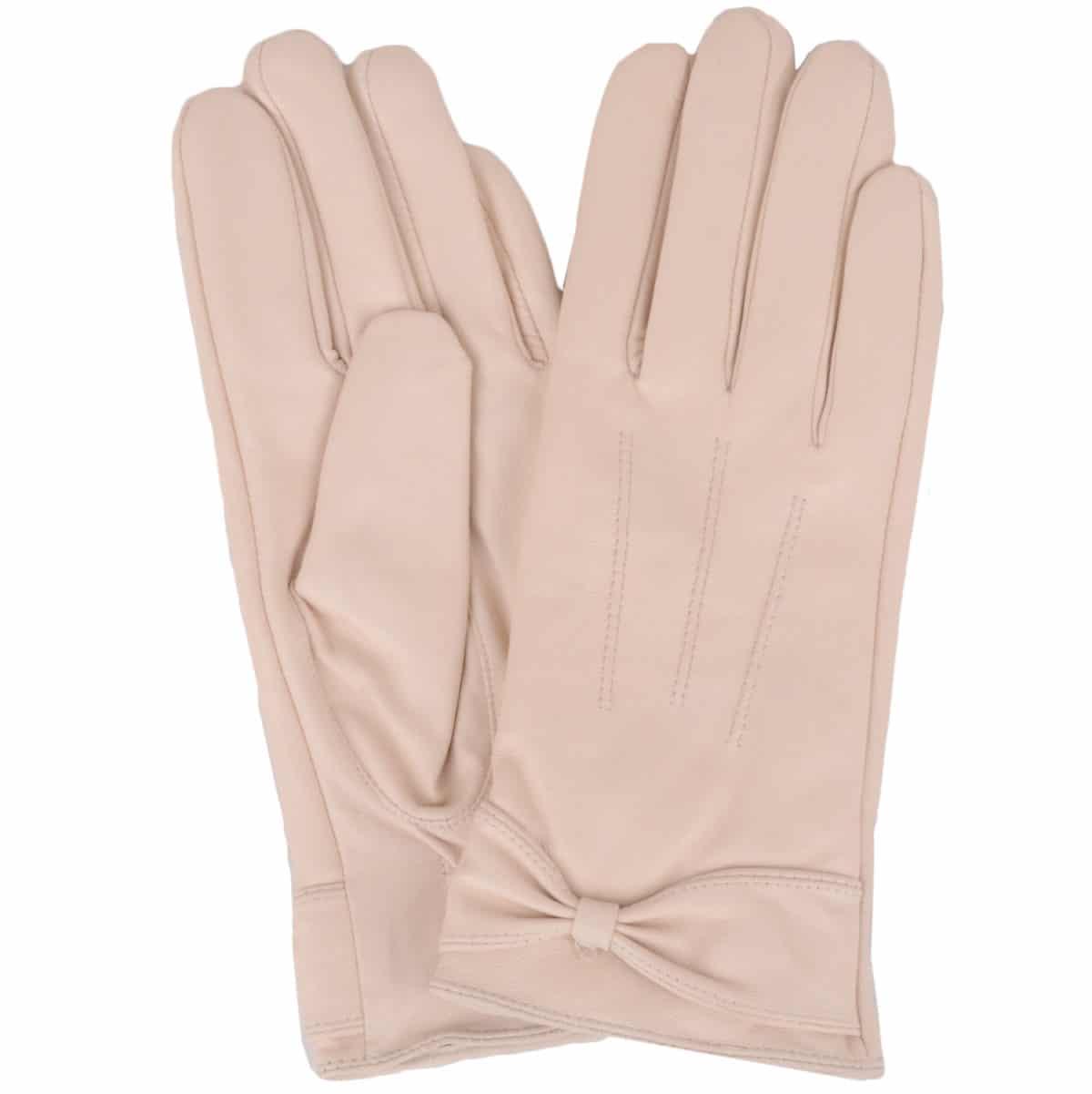 Alwen - Leather Gloves with Bow Design - Beige